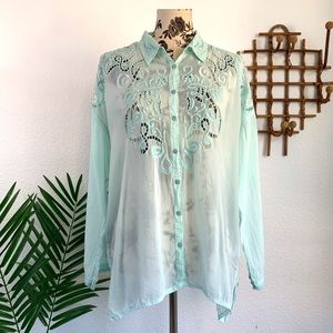 Johnny Was Embroidered Crochet Button Down Top